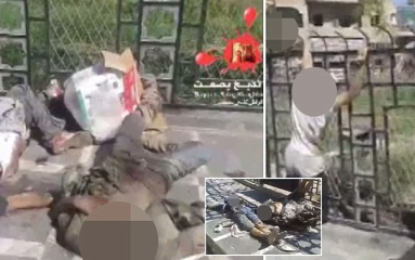 Women walk past headless corpses in the street without  second glance depicting life under ISIS rule