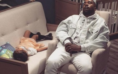 Kanye West and North sleeps off in shop during shopping spree