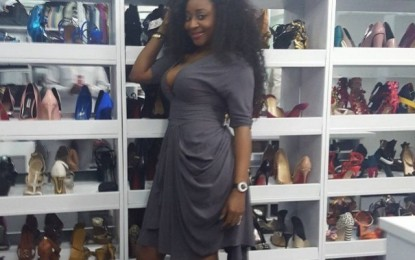 Ini Edo shows off her closet with a massive array of shoes to spare