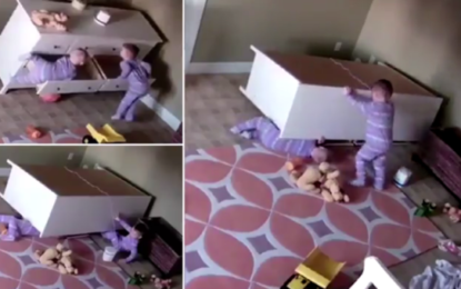 2yr old boy saves his twin from being crushed by a falling dresser