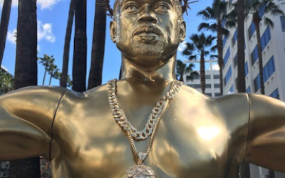 Statue of Kanye West on a crucifix on Hollywood Boulevard that has got people talking