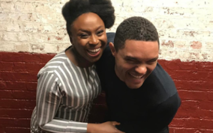 'An honour and such a joy meeting you ' – Trevor Noah writes after meeting Chimamanda Adichie