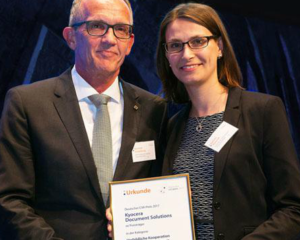KYOCERA Document Solutions has been awarded the 'Sustainable Brand of the Year' at the GERMAN CSR AWARD's 2017