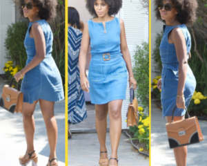 Kerry Washington steps out in denim and natural afro